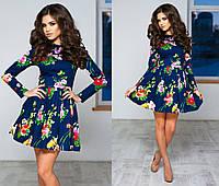 Женское цветное платье ткань коттон+ фатиновый подъюбник синее