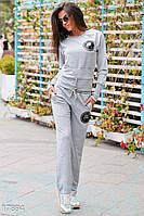Удобный женский спортивный костюм со свободными брюками и кофтой с длинным рукавом двух нить
