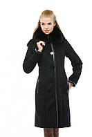 Дубленка женская черная с капюшоном Д-106, фото 1