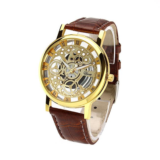 "Часы мужские ""Скелетон Viser"" коричневые"