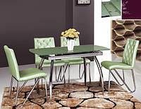 Стол стеклянный ТВ 086 зеленый, 100/120*60*75см (автоматическая раскладка)