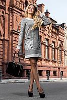 Платье прямого покроя с накладными карманами из трехнитки 44-50 размеры, фото 1