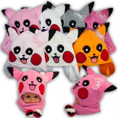 ОПТ Детский комплект - шапка и шарф для девочки, Amal (Польша), утеплитель Iso Soft, dz- 100 (5шт/набор)
