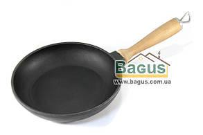 Сковорода чугунная 180х35мм с деревянной ручкой, посуда чугунная Эколит (Украина) 1835ДР