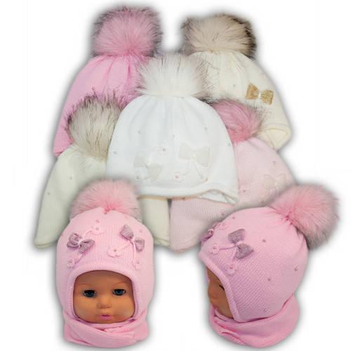 Детский комплект - шапка и шарф для девочки - i-16, Ambra (Польша), утеплитель Iso Soft