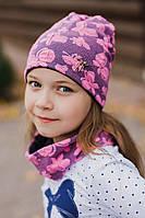 """Шикарный демисезонный набор """"Батерфляй"""" шапочка и шарфик, розовый"""