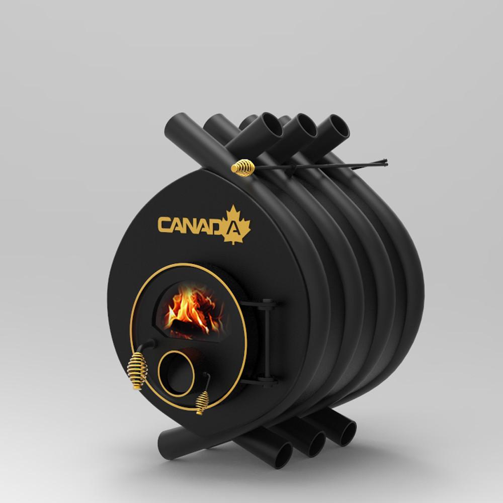 """Дровяная печь """"Canada"""" с жаростойким стеклом+перфорация """"01"""" мощность 11 кВт"""