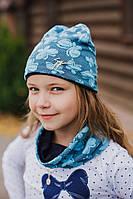 """Детский демисезонный набор """"Батерфляй"""" шапочка и шарфик (Украина) голубой"""