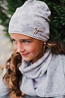 """Демисезонный набор """"Батерфляй"""" шапочка и шарфик (Украина) серый"""