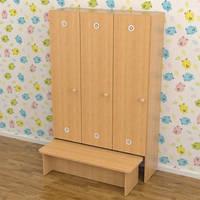 Шкафы детские с лавкой для раздевалки