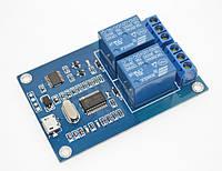 Реле 5В 2-канальный Micro USB модуль управление нагрузкой по USB + RS232 Rx Tx 5V PL2303