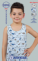 """Детское белье для мальчиков из Турции оптом. Майки для мальчиков """"Динозаврики"""" TM Baykar р.3 (122-128см)"""