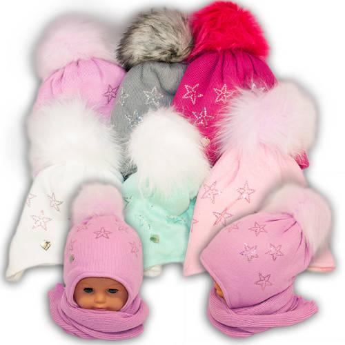 Детский комплект - шапка и шарф для девочки 962, Agbo (Польша), подкладка SUPERWARM