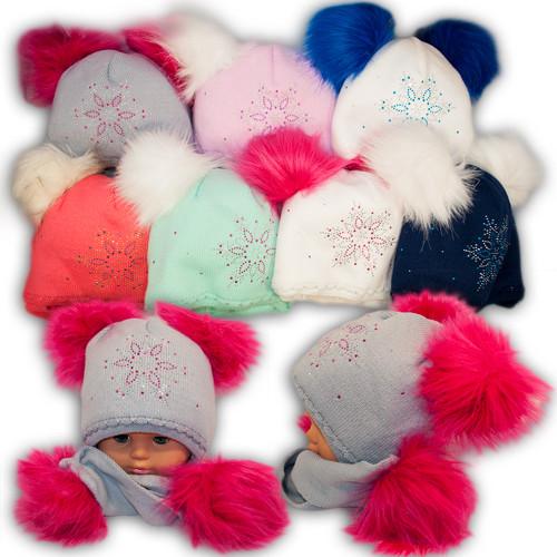 Вязаная шапка и шарф для девочки