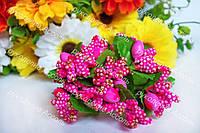 Декоративные ветки ярко-розовые в золоте 6 штук