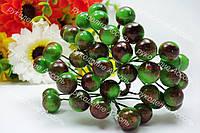 Ягоды лаковые зелёные с коричневым бочком. Пучок 5 проволочек (10 ягод).