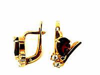 Золотые серьги с цирконием и гранатом