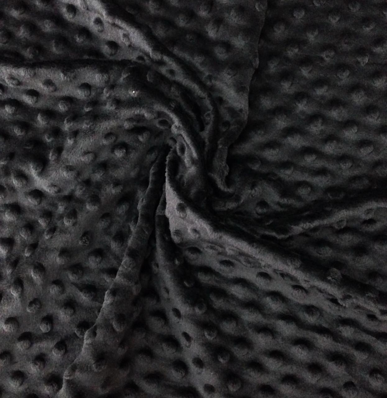 Плюшевая ткань Minky черный (плот. 350 г/м.кв)