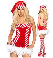 """Яркий новогодний костюм Снегурочки """"Sexy Candy"""" с перьевой опушкой"""