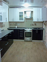 Кухня Черно-Белая Глянец, в частный дом, прямая, угловая, фото 1