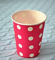 """Праздничные одноразовые бумажные стаканы """"Горошек"""", объем 170 мл, цвет розовый"""