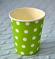 """Праздничные одноразовые бумажные стаканы """"Горошек"""", объем 170 мл, цвет зеленый"""