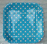 """Праздничные одноразовые бумажные тарелки """"Горох"""",  18 см, цвет голубой"""
