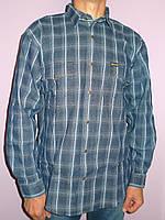 Синяя джинсовая клетчатая рубашка