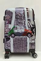 """Чемодан 1728 """"Машина"""" дорожный маленький серый объем 40 литров размеры 37 см х 50 см х 22 см"""