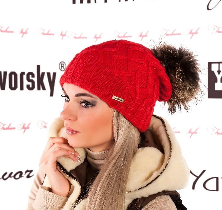 Шапка вязаная с меховым помпоном - Интернет магазин женской одежды в Харькове