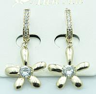 Серьги -золотой цветок с кристаллом. Элегантная бижутерия оптом недорого. 2256