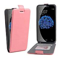Чехол Flip Down Card Holder для Doogee Valencia 2 Y100 Pro светло-розовый