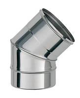 Колени для дымохода фиксированные одностенные из нержавеющей стали (45°)