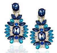 Серьги Элегантный кристалл/бижутерия/цвет синий
