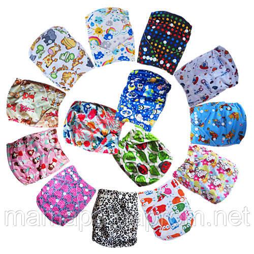 Подгузники многоразовые 3-16кг Флисовые для детей универсальные непромокаемые дышащие (Цветные)