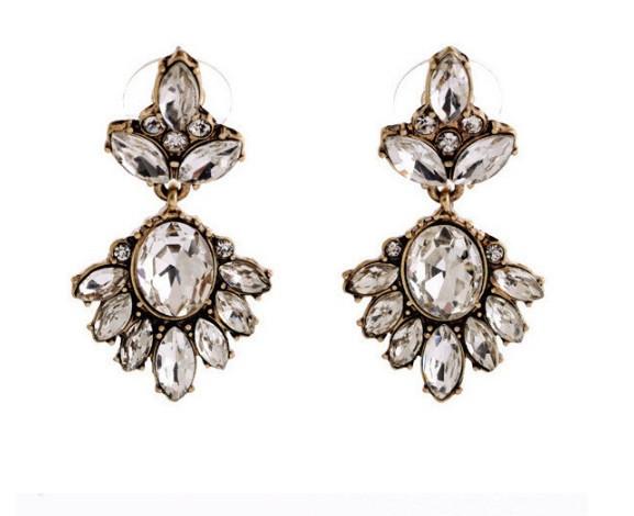 Серьги Цветы из кристаллов бронза/бижутерия/цвет белый
