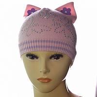 Шапочка для девочек с ушками украшена камушками цвет розовый