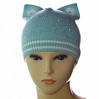 Шапочка для девочек с ушками украшена камушками цвет бирюза