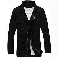 Черная мужская куртка на флисе