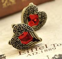 Серьги Сердце ангела/бижутерия/цвет красный, бронзовый