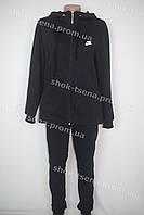 Женский зимний теплый спортивный костюм батал Nike черный
