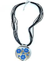 """Медальон женский """"Адажио"""" с голубой эмалью"""