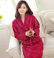 Халат женский мягкий пушистый темно-розовый