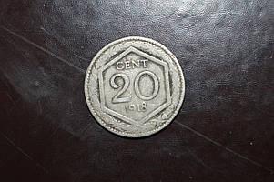 Италия 20 сентесимо 1918год