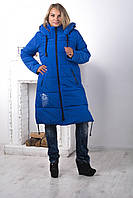 Зимнее пальто из плащевки CAROLINA (электрик) 46-56 размеры