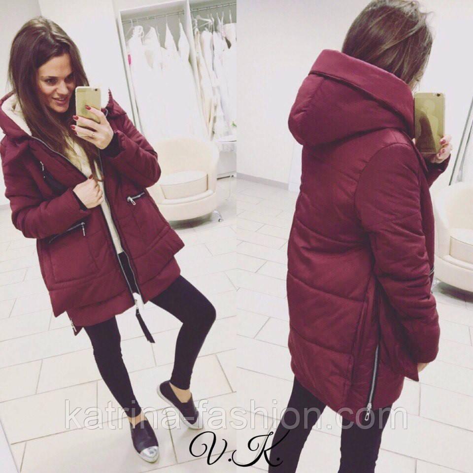 Женская стильная зимняя куртка-парка на подкладке (4 цвета) - KATRINA  FASHION - e0306de544b