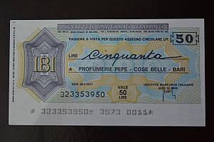 Чек. Италия 50 Лир 1977год  (ЧК-1) ЛОТ 9