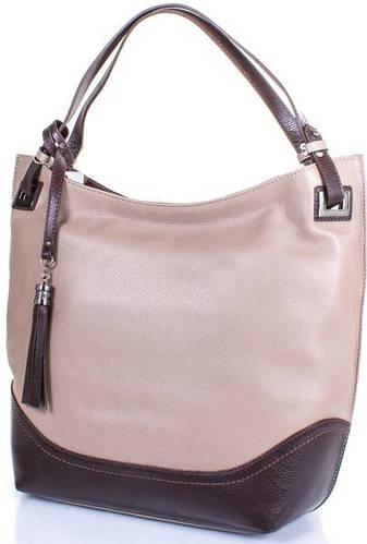 Кожаная современная женская сумка DESISAN (ДЕСИСАН) SHI2893-283 Бежевый