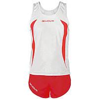 Комплект формы для легкой атлетики Givova Kit Boston  Белый/Красный, L