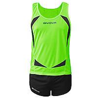 Комплект формы для легкой атлетики Givova Kit Sparta Зеленый/Черный, L